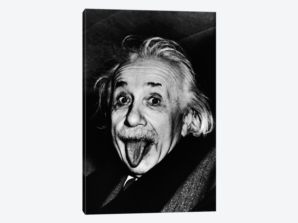 "Albert Einstein Sticking His Tongue Out by Arthur Sasse Canvas Print 26"" L x 40"" H x 0.75"" D - eWallArt"
