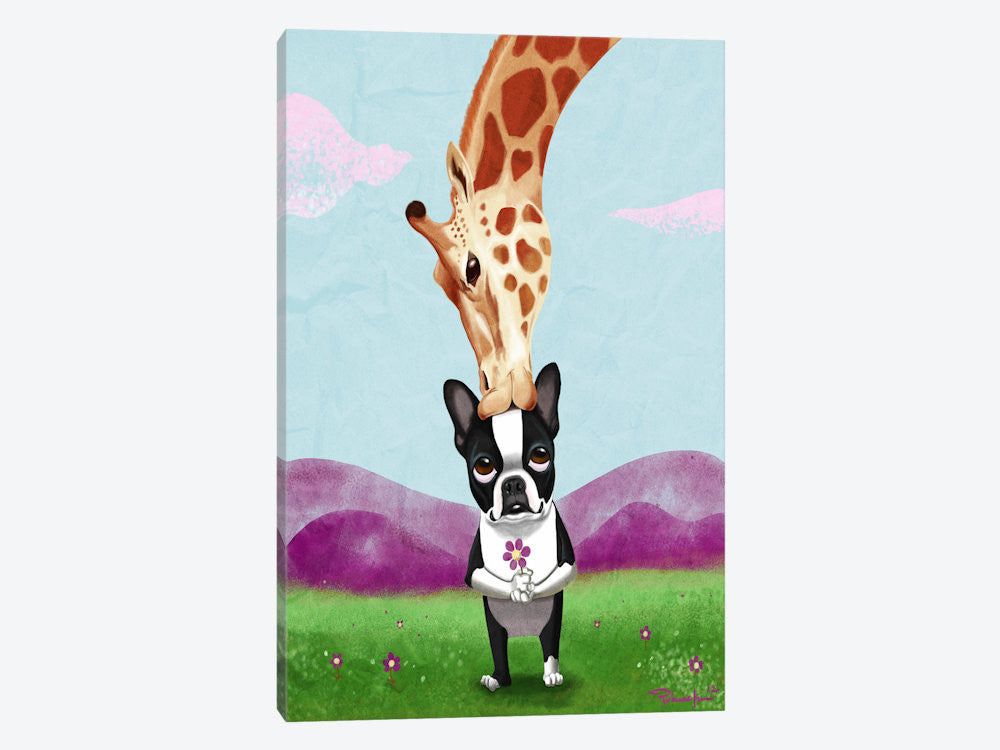 "Boston Terrier & Giraffe by Brian Rubenacker Canvas Print 40"" L x 60"" H x 1.50"" D - eWallArt"