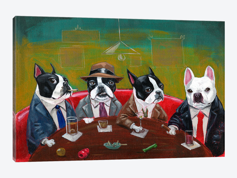 "Three Boston Terriers And A French Bulldog by Brian Rubenacker Canvas Print 40"" L x 26"" H x 0.75"" D - eWallArt"