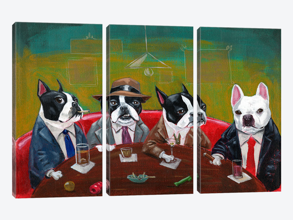 "Three Boston Terriers And A French Bulldog by Brian Rubenacker Canvas Print 60"" L x 40"" H x 0.75"" D - eWallArt"