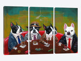 Three Boston Terriers And A French Bulldog by Brian Rubenacker Canvas Print 60
