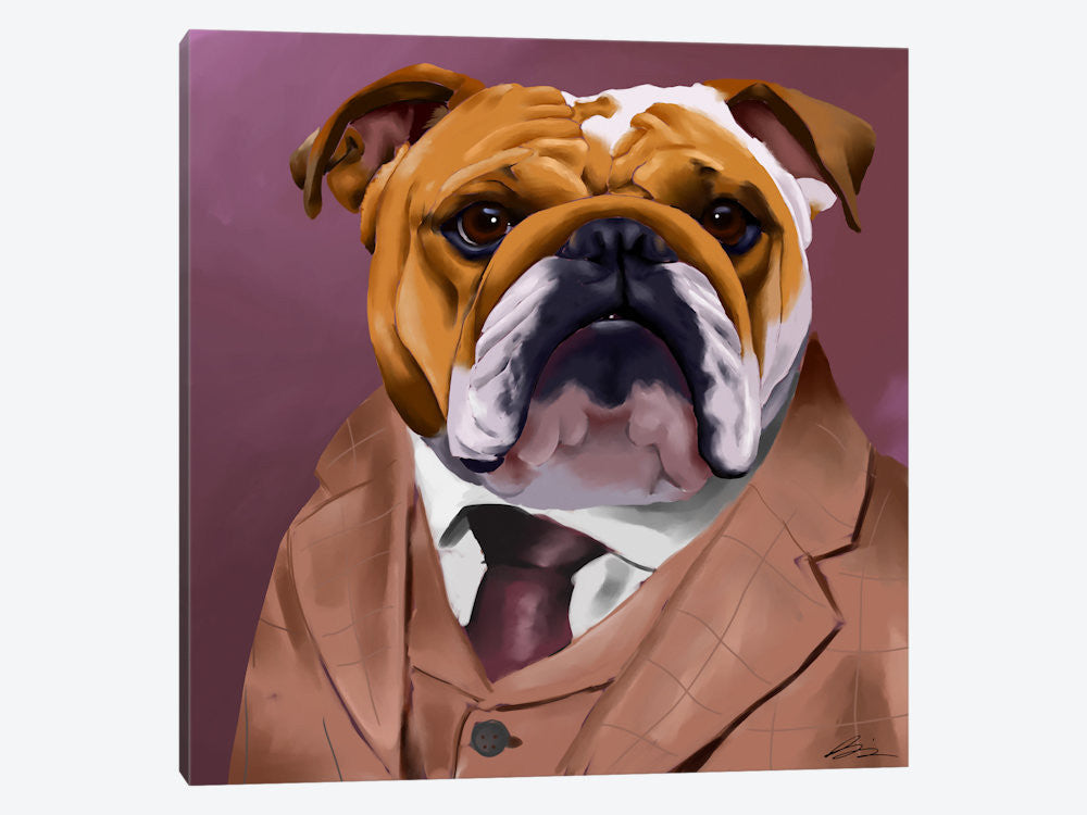 "English Bulldog Dressed For A Night Out by Brian Rubenacker Canvas Print 26"" L x 26"" H x 0.75"" D - eWallArt"