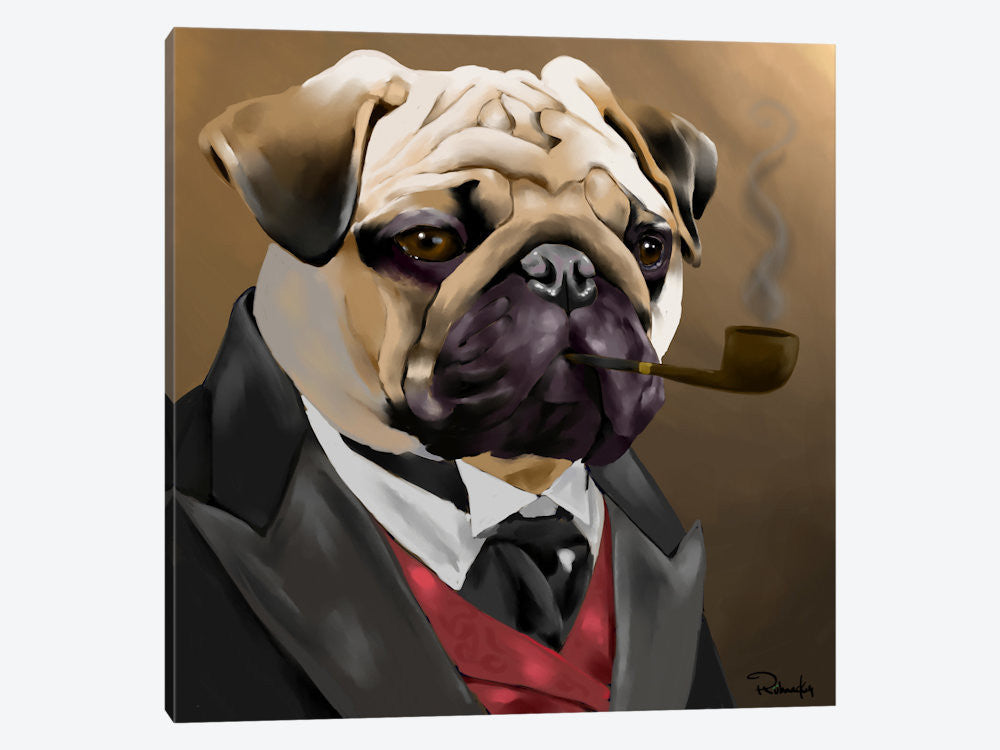 "The Sophisticated Pug by Brian Rubenacker Canvas Print 26"" L x 26"" H x 0.75"" D - eWallArt"