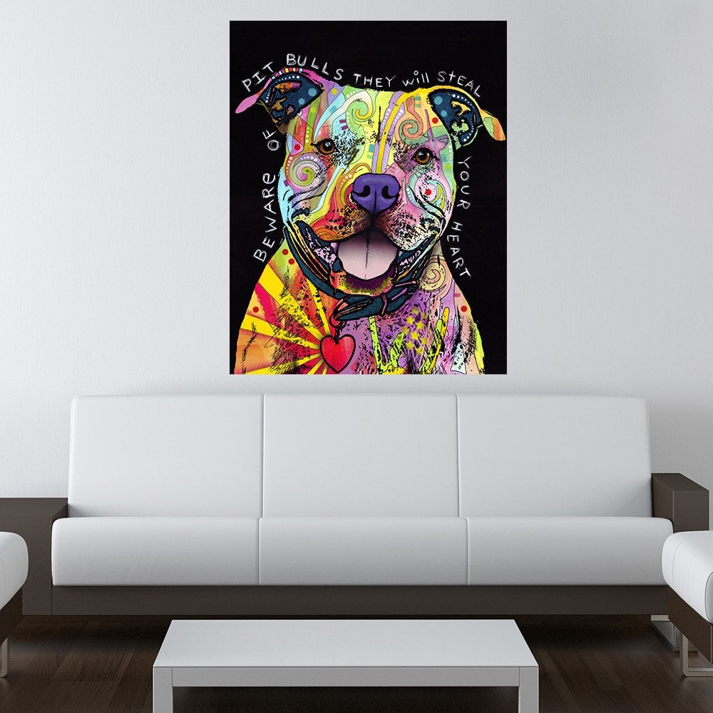 Beware of Pit Bulls by Dean Russo Canvas Print