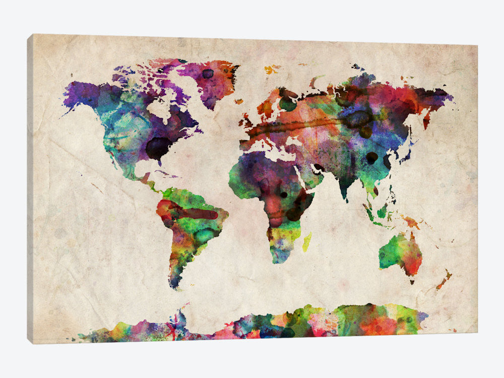 "World Map Urba Watercolor II by Michael Tompsett Canvas Print 60"" L x 40"" H x 1.50"" D - eWallArt"