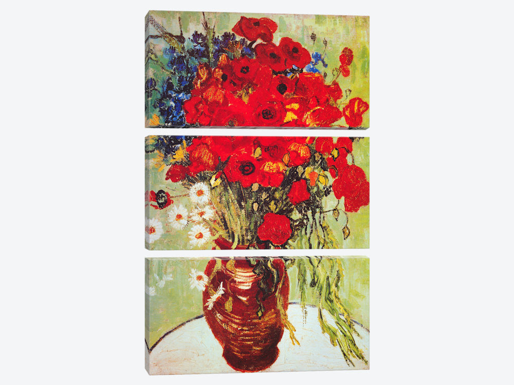 "Vase with Daisies and Poppies by Vincent van Gogh Canvas Print 40"" L x 60"" H x 0.75"" D - eWallArt"