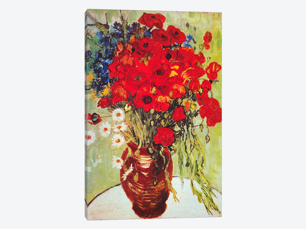 "Vase with Daisies and Poppies by Vincent van Gogh Canvas Print 18"" L x 26"" H x 0.75"" D - eWallArt"
