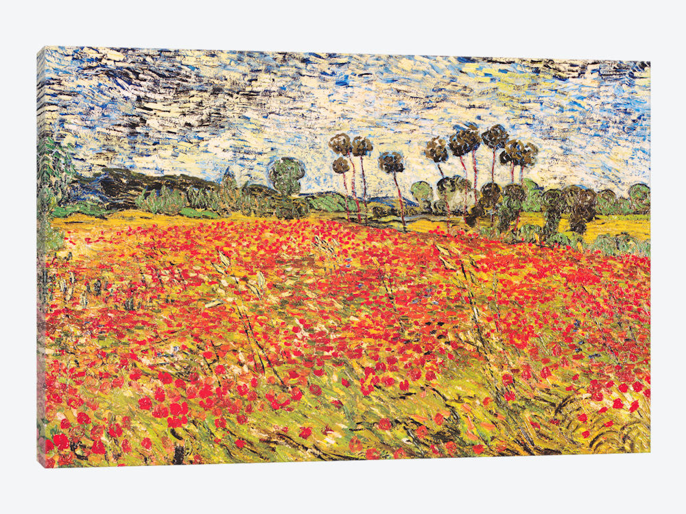 "Field of Poppies by Vincent van Gogh Canvas Print 26"" L x 18"" H x 0.75"" D - eWallArt"