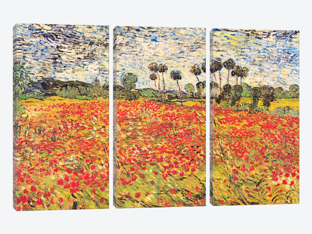 "Field of Poppies by Vincent van Gogh Canvas Print 60"" L x 40"" H x 0.75"" D - eWallArt"
