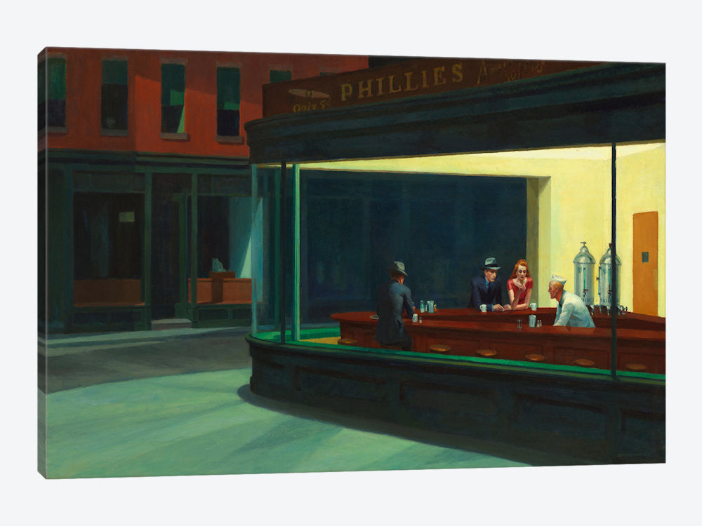 "Nighthawks 1942 by Edward Hopper Canvas Print 26"" L x 18"" H x 0.75"" D - eWallArt"