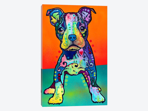"English Bulldog Dressed For A Night Out by Brian Rubenacker Canvas Print 26"" L x 26"" H x 0.75"" D"