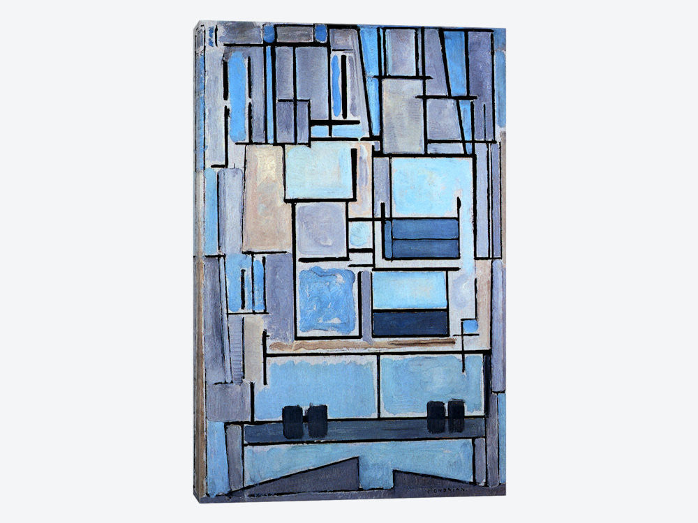 "Composition No 9 1914 by Piet Mondrian Canvas Print 26"" L x 40"" H x 0.75"" D - eWallArt"