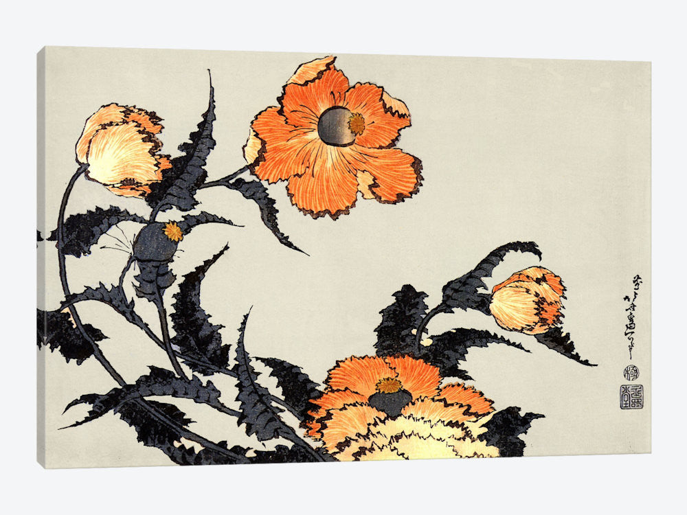 "Poppies by Katsushika Hokusai Canvas Print 26"" L x 18"" H x 0.75"" D - eWallArt"
