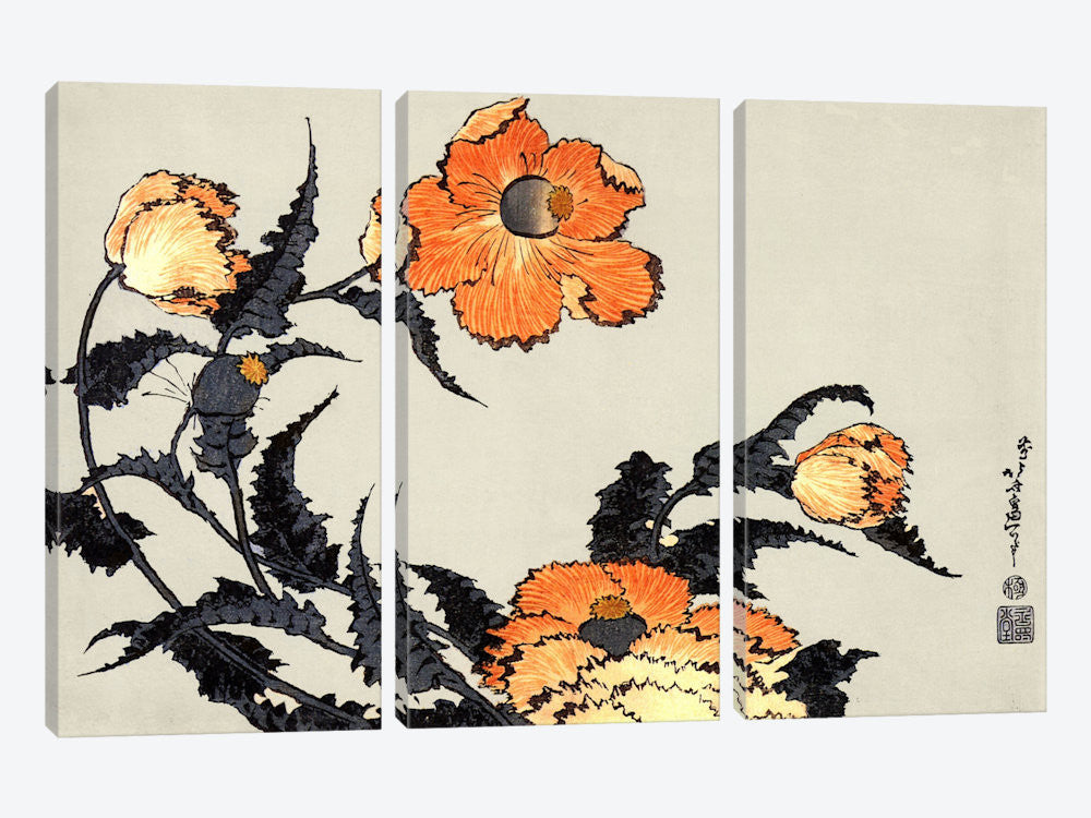 "Poppies by Katsushika Hokusai Canvas Print 60"" L x 40"" H x 0.75"" D - eWallArt"