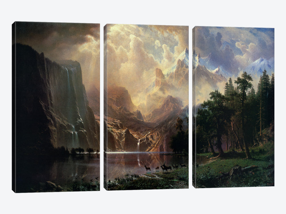 "Among Sierra Nevada In California by Albert Bierstadt Canvas Print 60"" L x 40"" H x 0.75"" D - eWallArt"
