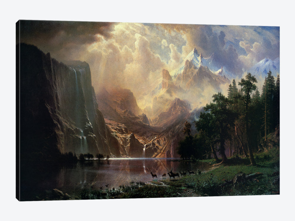 "Among Sierra Nevada In California by Albert Bierstadt Canvas Print 40"" L x 26"" H x 0.75"" D - eWallArt"