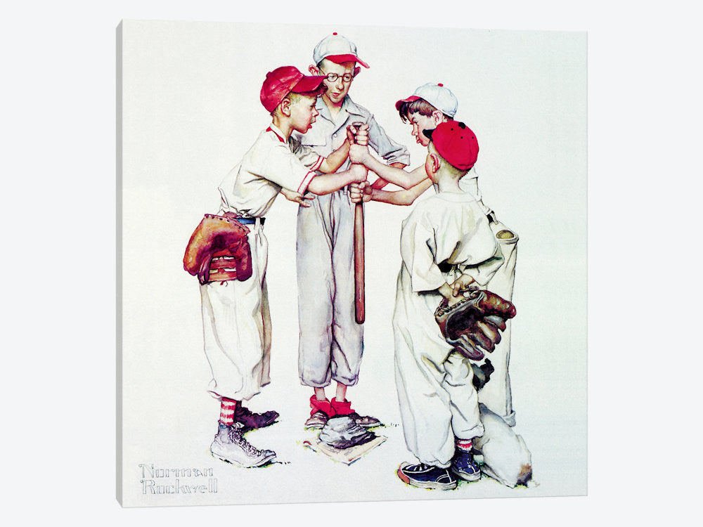 "Choosing up Four Sporting Boys: Baseball by Norman Rockwell Canvas Print 26"" L x 26"" H x 0.75"" D - eWallArt"