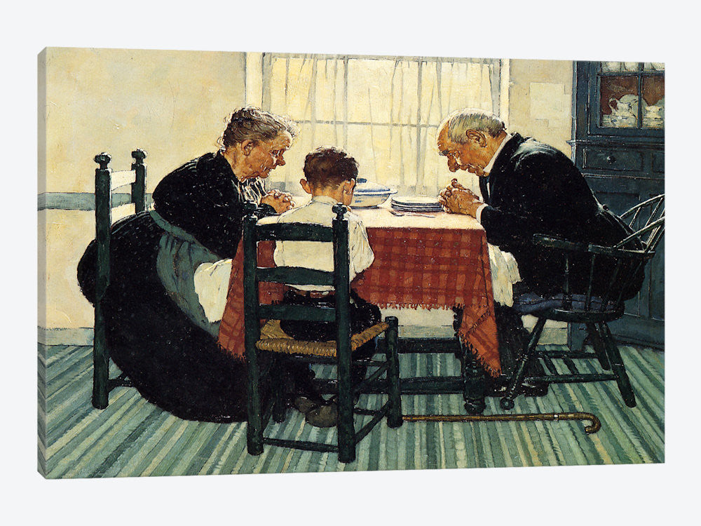 "Family Grace Pray by Norman Rockwell Canvas Print 26"" L x 18"" H x 0.75"" D - eWallArt"