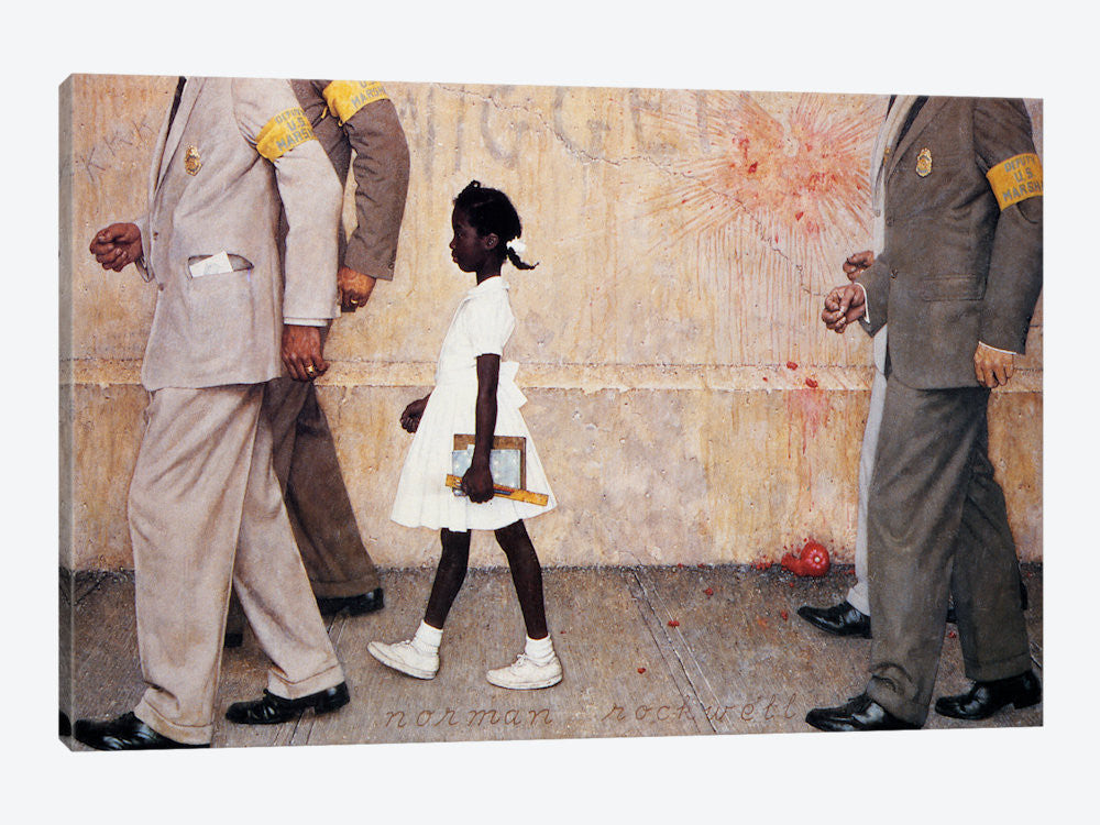 "The Problem We All Live With Ruby Bridges by Norman Rockwell Canvas Print 26"" L x 18"" H x 0.75"" D - eWallArt"