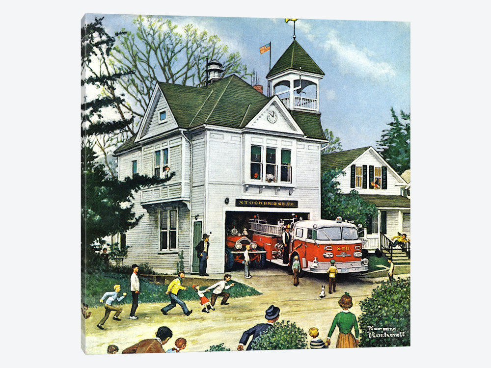 "The New American LaFrance is Here Firehouse by Norman Rockwell Canvas Print 26"" L x 26"" H x 0.75"" D - eWallArt"