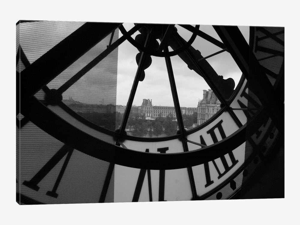"Clock Tower In Paris Canvas Print 26"" L x 18"" H x 0.75"" D - eWallArt"