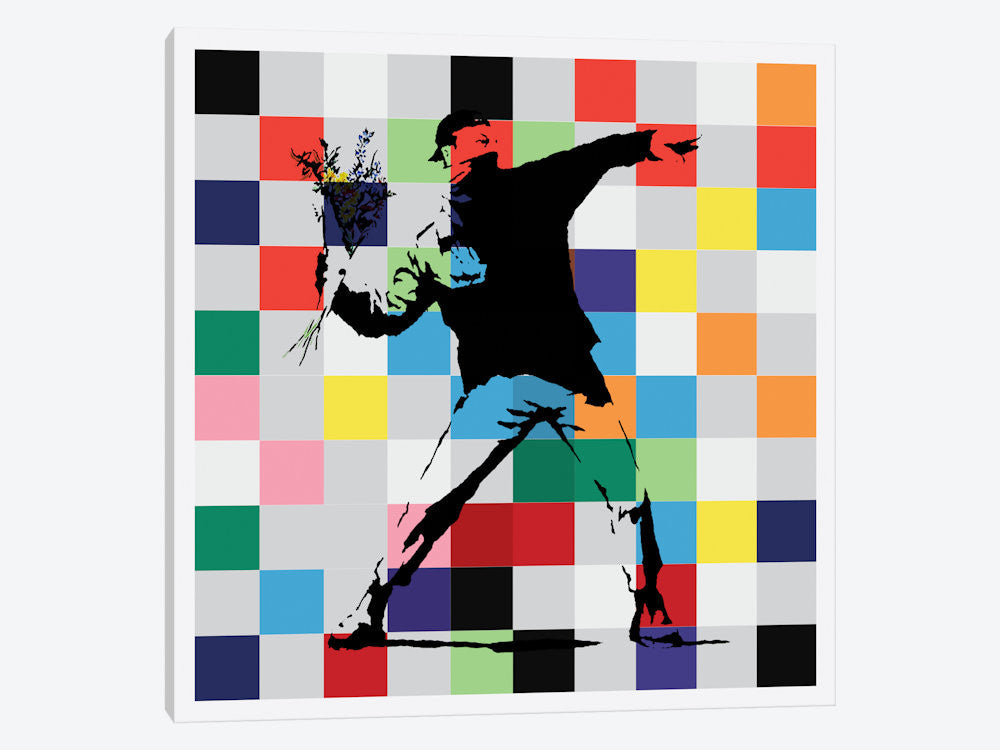 "RageFlower Thrower Color Dots by Banksy Canvas Print 26"" L x 26"" H x 0.75"" D - eWallArt"