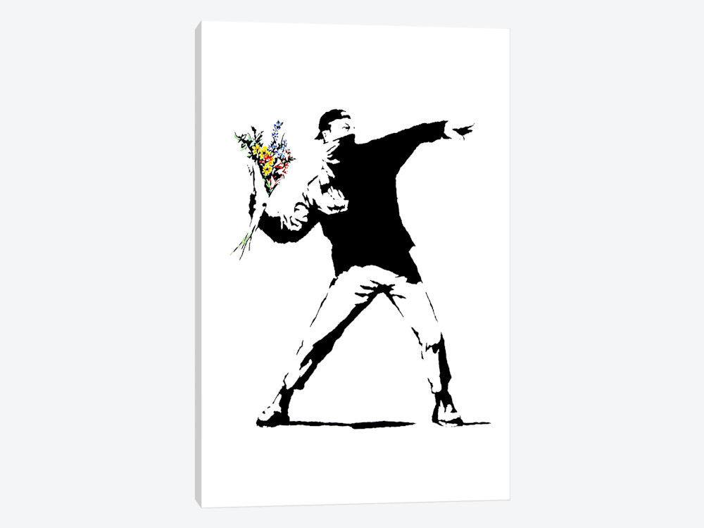 "Rage Flower Thrower by Banksy Canvas Print 40"" L x 60"" H x 1.5"" D - eWallArt"