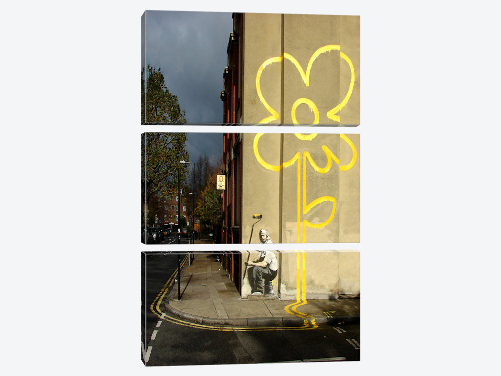 "Yellow Lines Flower Painter by Banksy Canvas Print 40"" L x 60"" H x 0.75"" D - eWallArt"