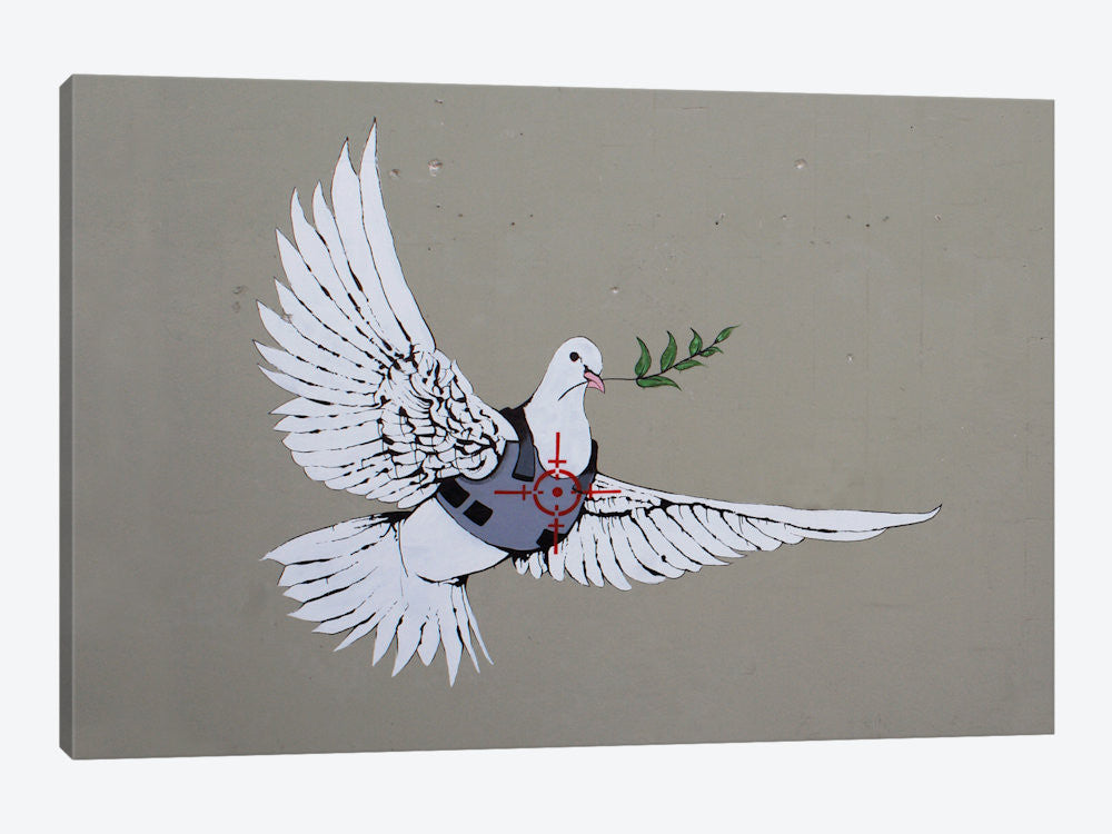 "Armoured Peace Dove by Banksy Canvas Print 60"" L x 40"" H x 1.5"" D - eWallArt"