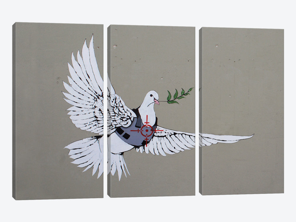 "Armoured Peace Dove by Banksy Canvas Print 60"" L x 40"" H x 0.75"" D - eWallArt"