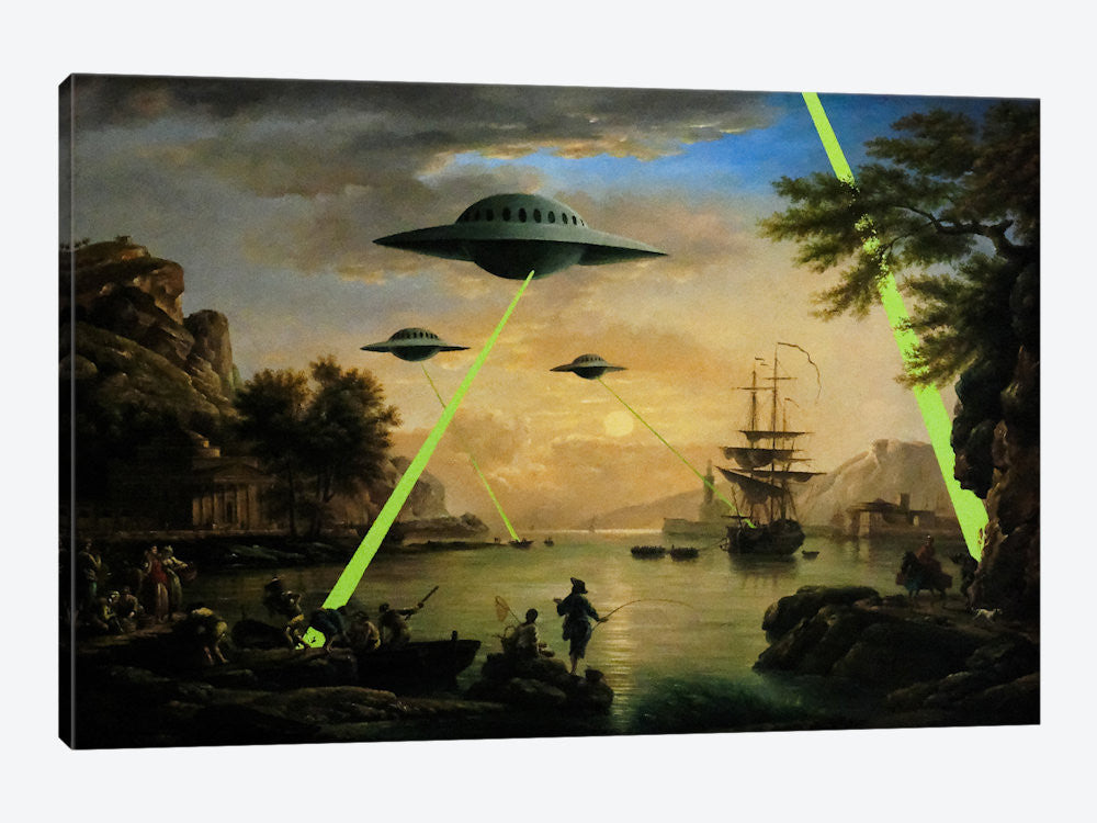 2106-1PC3-40x26 Flying Saucers Aliens by Banksy Canvas Print