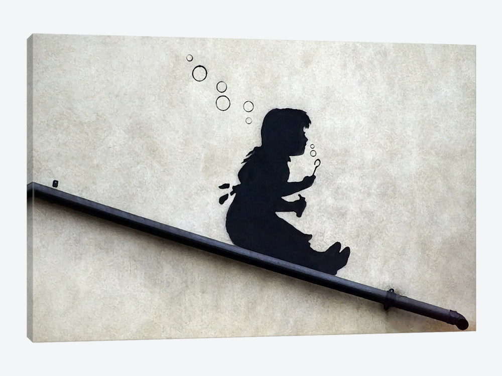 "Bubble Girl by Banksy Canvas Print 40"" L x 26"" H x 0.75"" D - eWallArt"