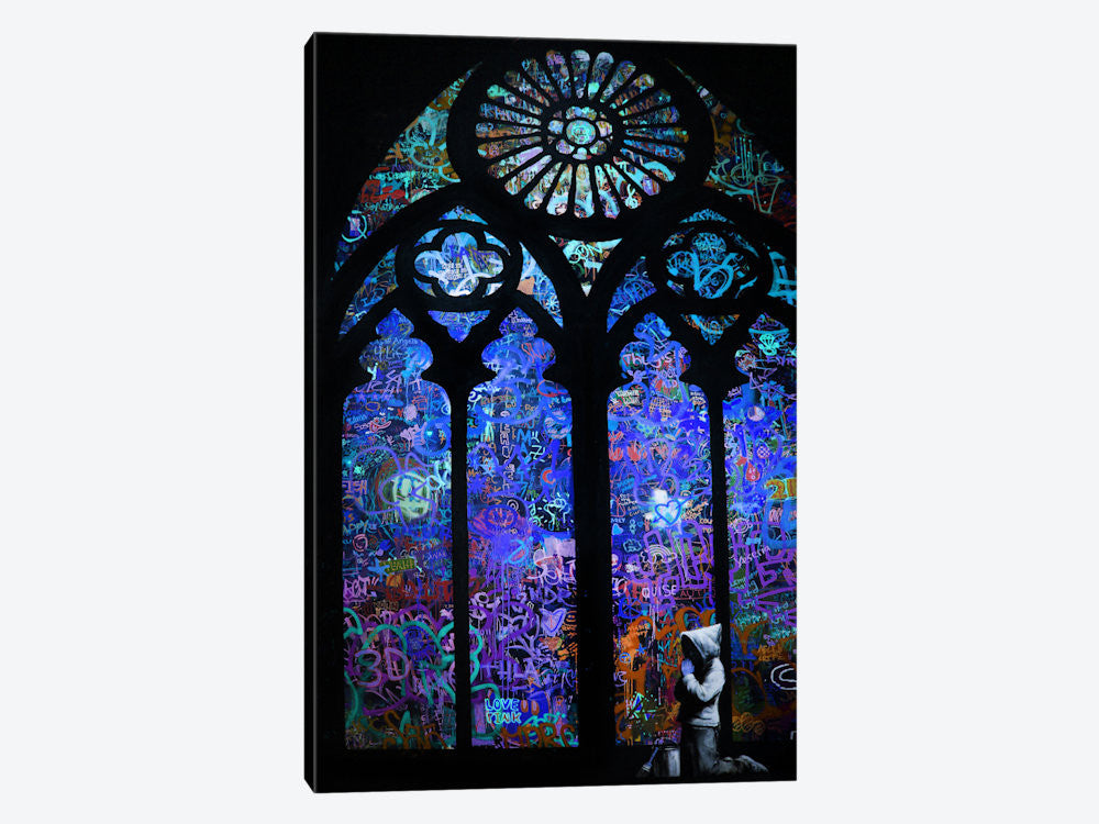 "Stained Glass Window II by Banksy Canvas Print 26"" L x 40"" H x 0.75"" D - eWallArt"