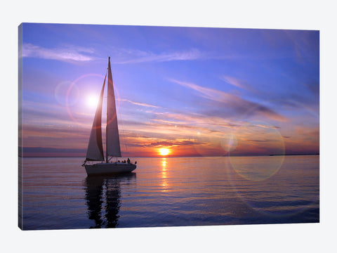 Black and White Sailboat Canvas Print