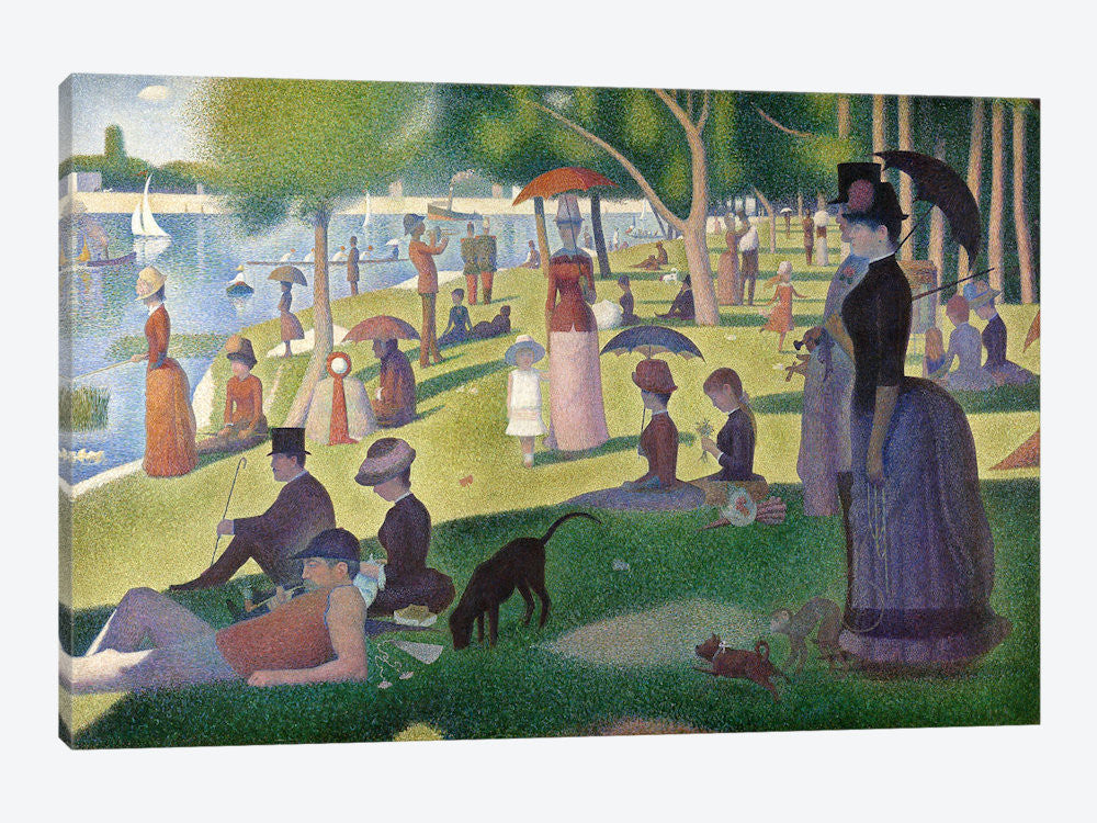 "Sunday Afternoon on the Island of La Grande Jatte by Georges Seurat Canvas Print 60"" L x 40"" H x 1.5"" D - eWallArt"