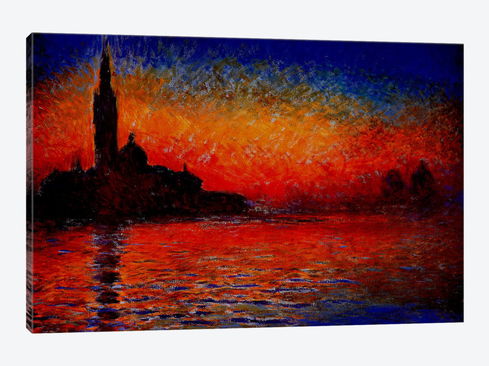 "Sunset in Venice by Claude Monet Canvas Print 26"" L x 18"" H x 0.75"" D - eWallArt"