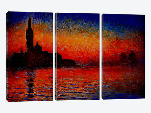 "Sunset in Venice by Claude Monet Canvas Print 26"" L x 18"" H x 0.75"" D"