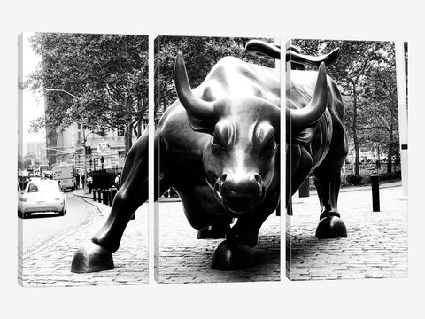 "Wall Street Bull Black & White Canvas Print 60"" L x 40"" H x 1.5"" D"