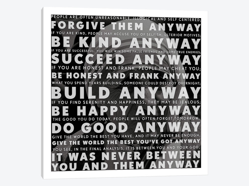 "Mother Teresa Quote by iCanvas Canvas Print 26"" L x 26"" H x 0.75"" D - eWallArt"
