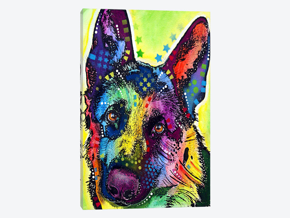"German Shepherd by Dean Russo Canvas Print 18"" L x 26"" H x 0.75"" D - eWallArt"