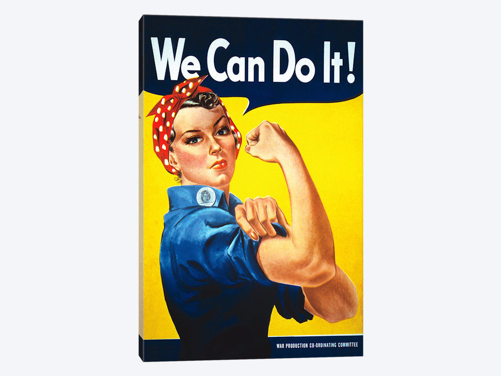 "We Can Do It! Rosie The Riveter Poster by J Howard Miller Canvas Print 18"" L x 26"" H x 0.75"" D - eWallArt"