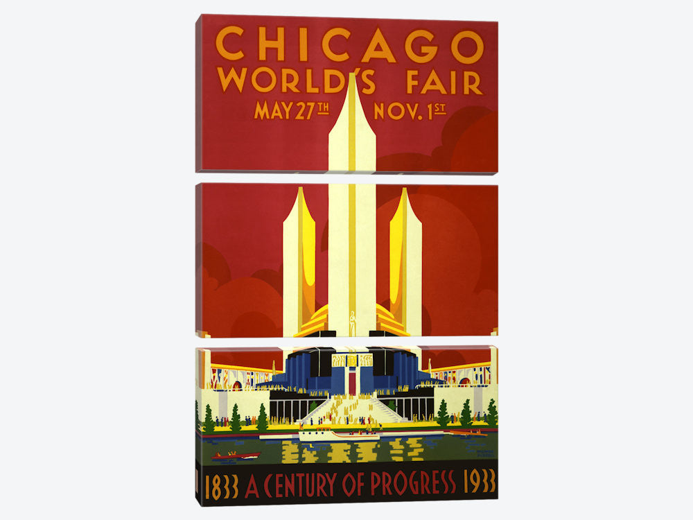 "Chicago World's Fair 1933 Vintage Poster Canvas Print 40"" L x 60"" H x 0.75"" D - eWallArt"