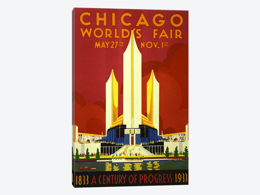 "Chicago World's Fair 1933 Vintage Poster Canvas Print 40"" L x 60"" H x 1.5"" D - eWallArt"