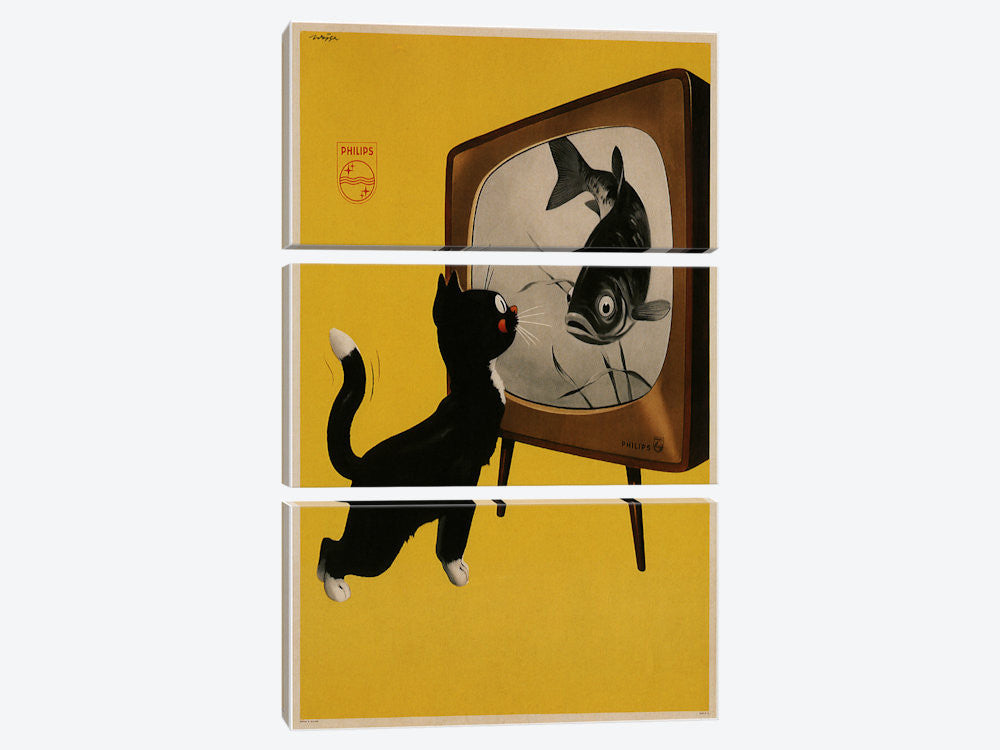 "Philips Black and White Tv Cat and a Fish Advertising Vintage Poster Canvas Print 40"" L x 60"" H x 0.75"" D - eWallArt"