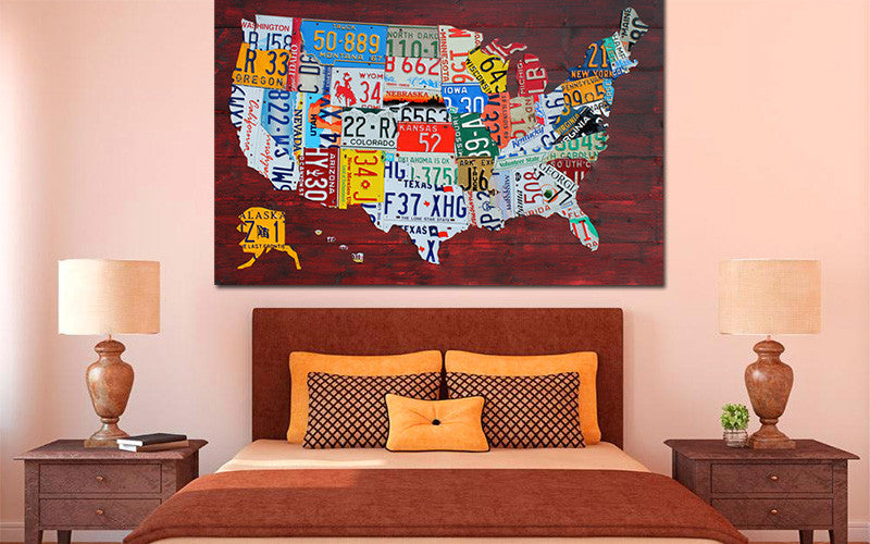Wall Art License Plate Map USA by David Bowman Canvas Print – eWallArt