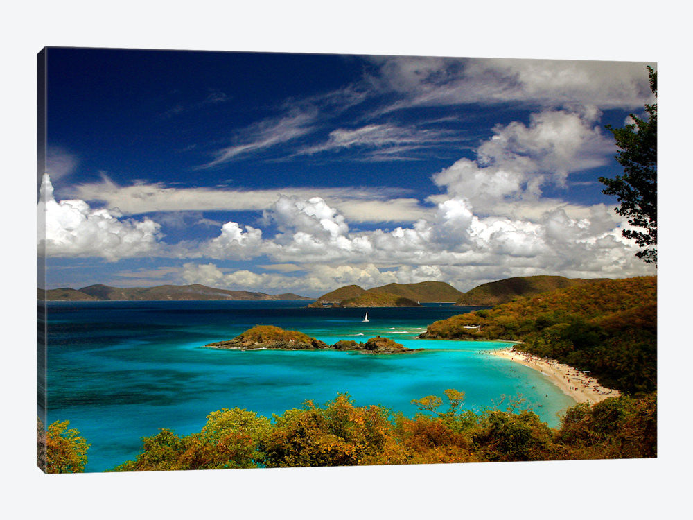 "Trunk Bay by J.D McFarlan Canvas Print 60"" L x 40"" H x 1.5"" D - eWallArt"
