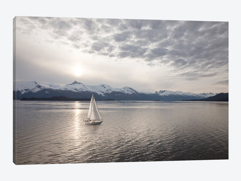 "Sailing at Sunset Alaska '09 by Monte Nagler Canvas Print 40"" L x 26"" H x 0.75"" D"