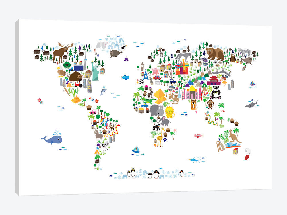 "Animal Map of The World by Michael Tompsett Canvas Print 40"" L x 26"" H x 0.75"" D - eWallArt"