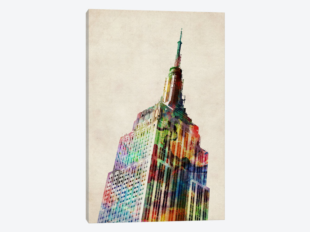 "Empire State Building by Michael Tompsett Canvas Print 26"" L x 40"" H x 0.75"" D - eWallArt"