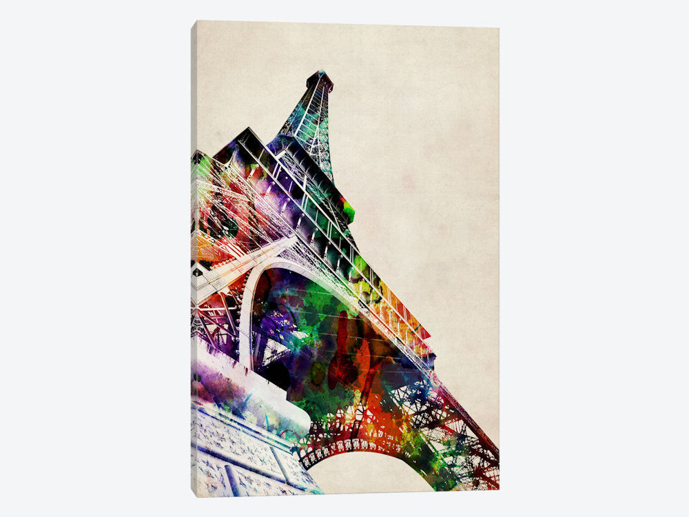 "Eiffel Tower watercolor by Michael Tompsett Canvas Print 26"" L x 40"" H x 0.75"" D - eWallArt"
